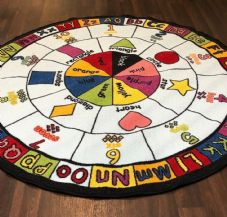 NEW MULTI LEARNING KIDS CIRCLE 133X133CM PLAY MAT RUG SCHOOL HOME MULTICOLOUR